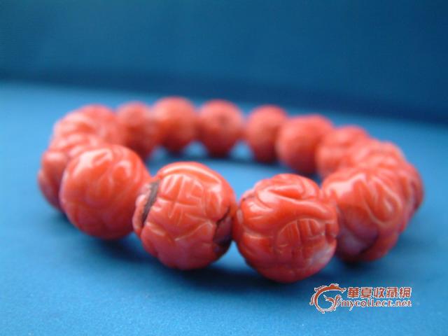 华夏古玩城 杂项 石雕 > 老红珊瑚手串