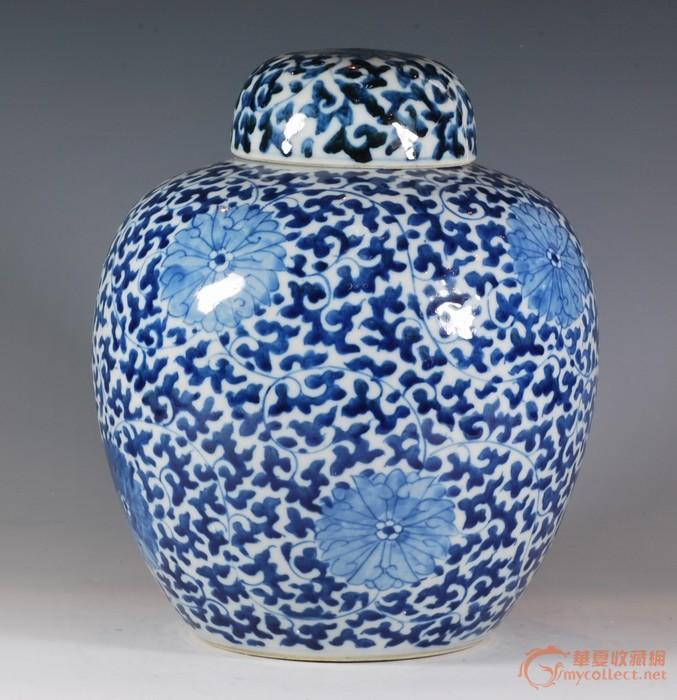 清中晚期缠枝纹罐-图1