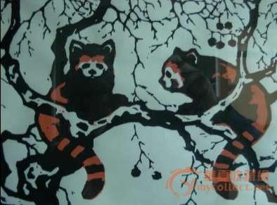 力群木刻版画 (小熊猫)