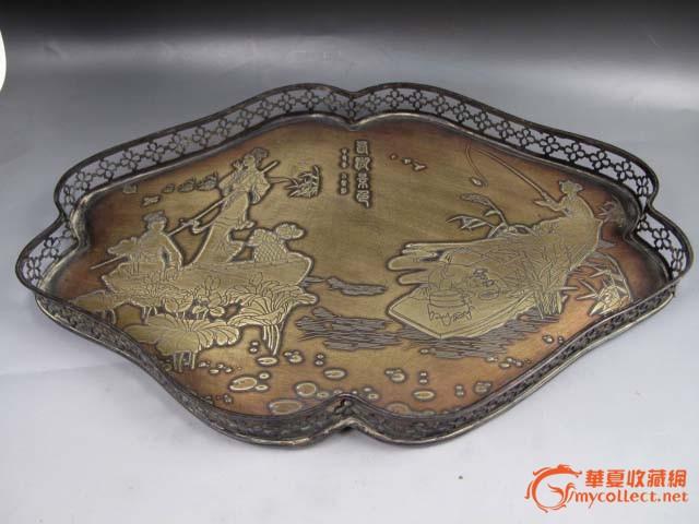 民国 紫铜雕刻 茶盘