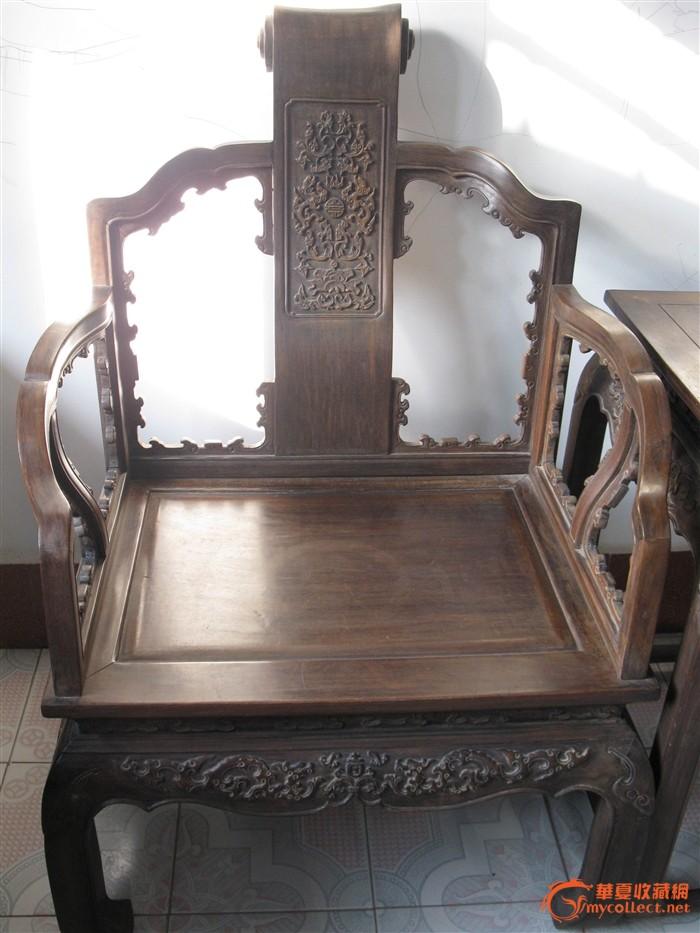 老酸枝===精雕云纹双龙抢寿太师椅3件套#图3