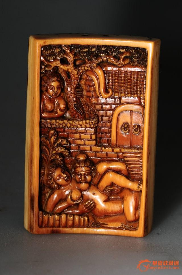 清代 珍贵材质高浮雕春宫图佩-图1