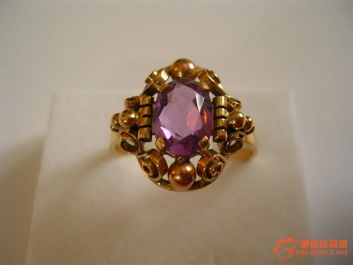 欧洲原装古董金镶嵌紫晶戒指 FB
