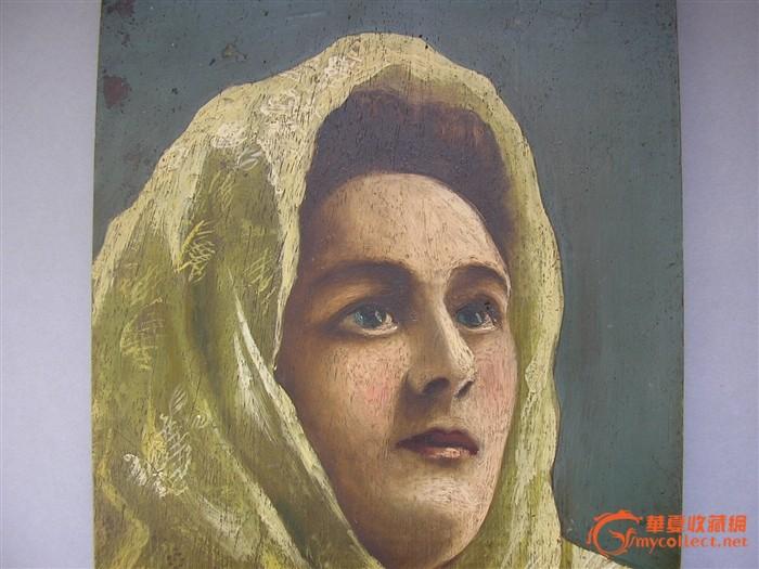 意大利油画原作--包头巾的女人