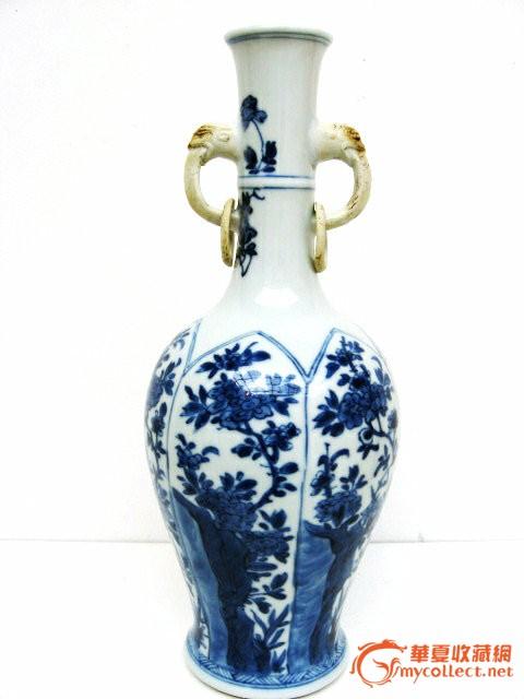 康熙青花四季花卉双耳活环瓶#图1