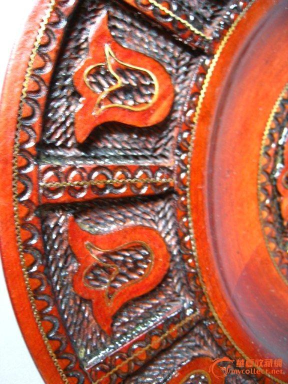西洋欧洲老雕刻工艺手工木雕挂碟2