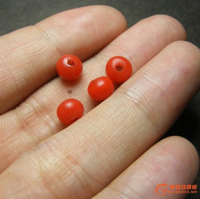 老红色琉璃小圆珠4颗(完整的 仿珊瑚红)
