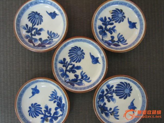 早期菊鸟青花瓷手绘盘5件一套