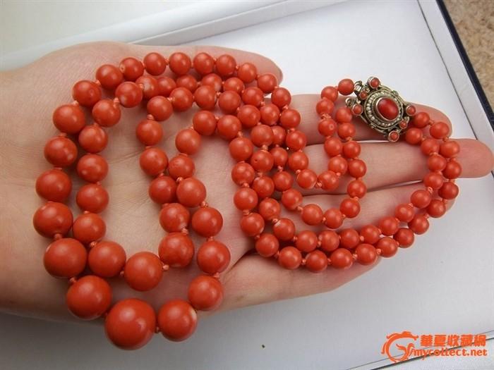 收藏级60.3克莫莫红珊瑚古董圆珠项链