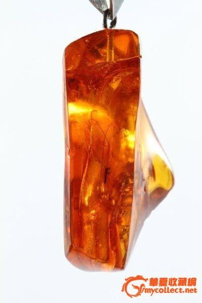 古董级珠宝-天然幽灵珀(虫珀+植物)吊坠,附带证书#图3
