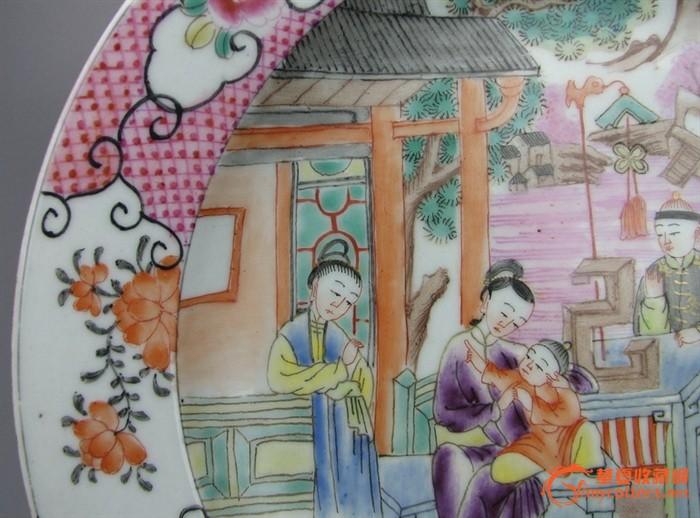 清代   粉彩画人物盘 。『聚古斋』图3
