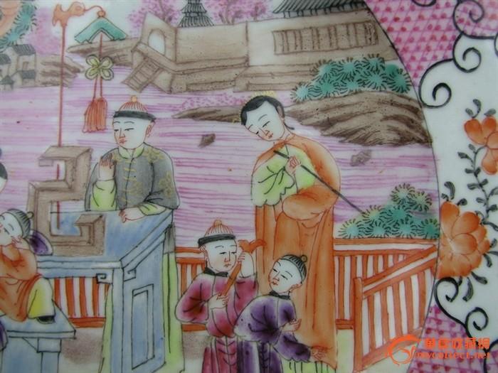 清代   粉彩画人物盘 。『聚古斋』图5