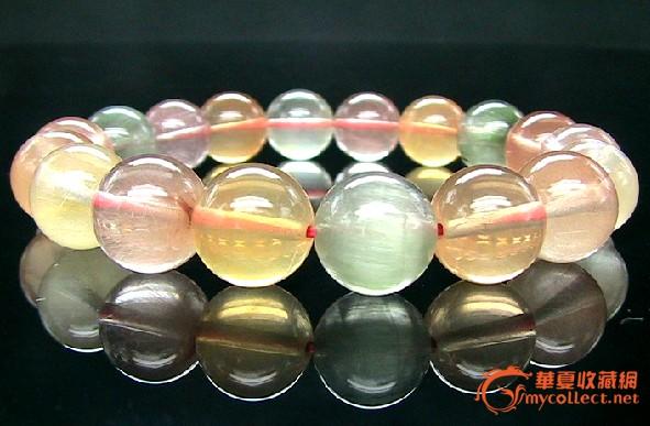 糖果色福禄寿发晶手链 天然水晶 珠宝