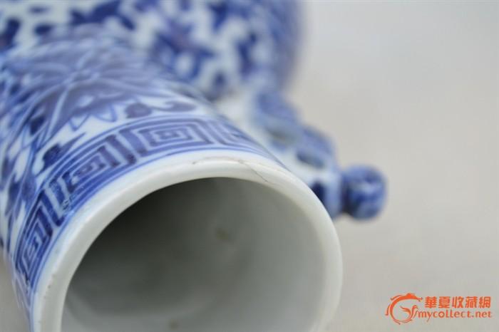 华夏古玩城 陶瓷 明清 > 英国直邮—光绪青花龙穿花纹抱月瓶