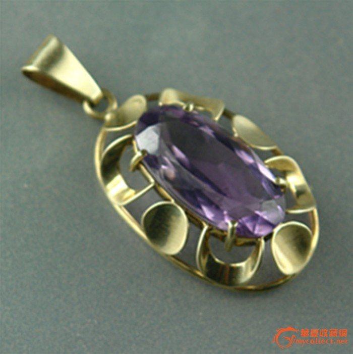 欧洲原装金镶嵌紫晶挂坠~1900年 H9