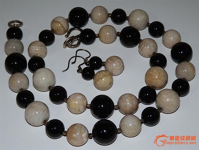 银黑马脑珊瑚石圆珠项链,耳环.