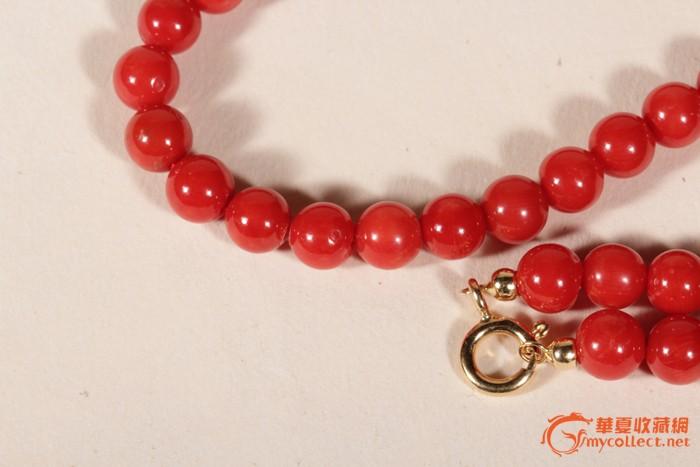 天然沙丁红珊瑚圆珠项链 18k金扣