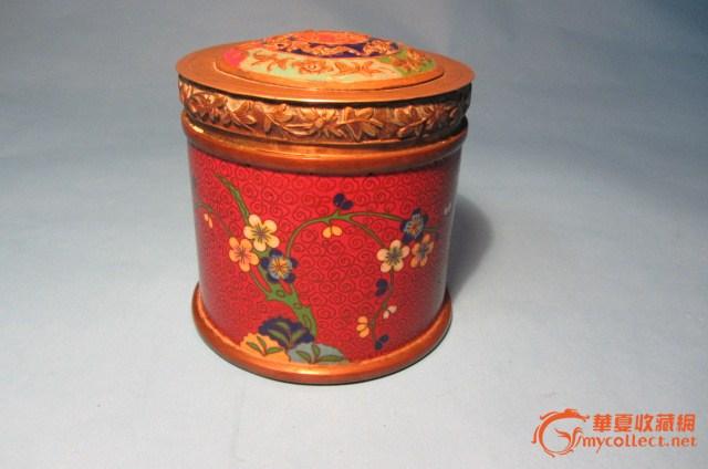 民国铜眙掐丝珐琅彩枣红底色花纹烟罐