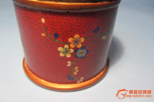 枣红底色花纹烟罐