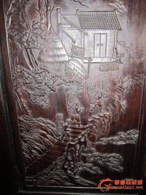 紫檀木雕大柜一对#图4
