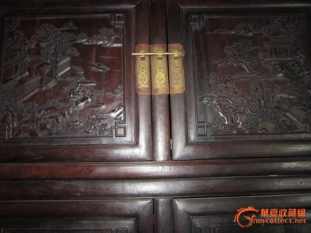 紫檀木雕大柜一对#图2