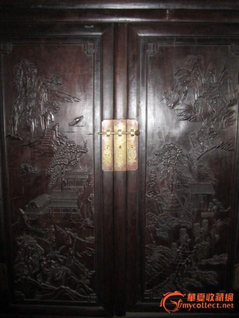 紫檀木雕大柜一对#图3