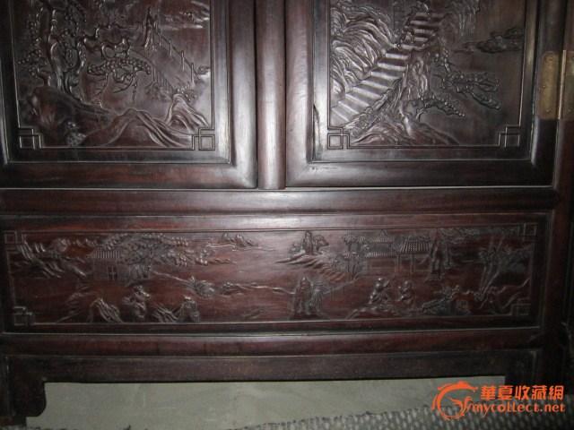 紫檀木雕大柜一对#图5