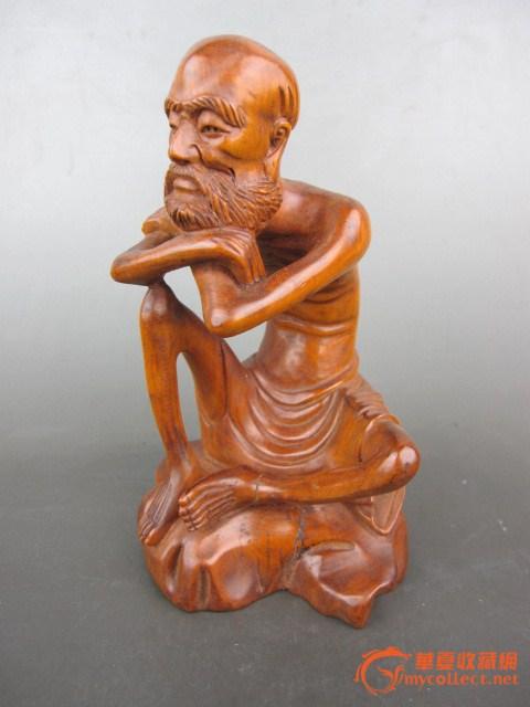 黄杨木 手工 雕刻 瘦骨罗汉