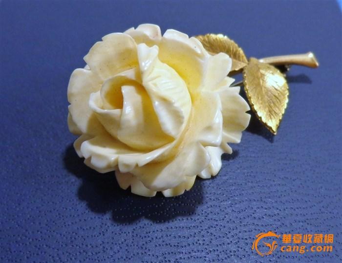 洋奶奶七七八八$$$ 骨雕大玫瑰花胸针-图3