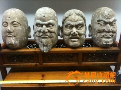明代檀香木雕罗汉头像
