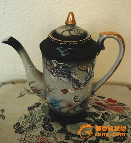 日本手绘龙图案茶具一组-图2