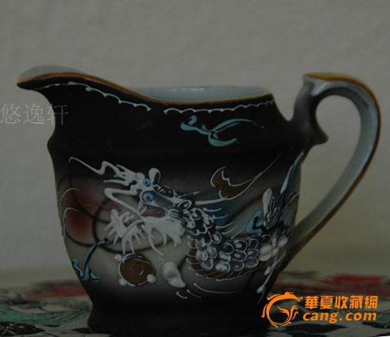 日本手绘龙图案茶具一组-图5