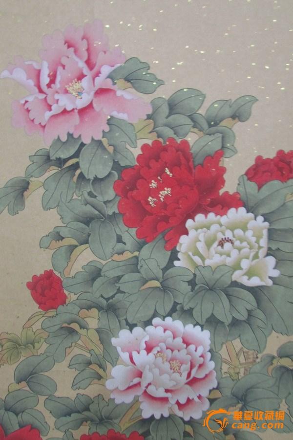 款识钤印:萧丽      《万紫千红》,牡丹工笔画