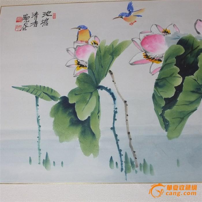海外回流精品【池塘春香荷花图】框架画