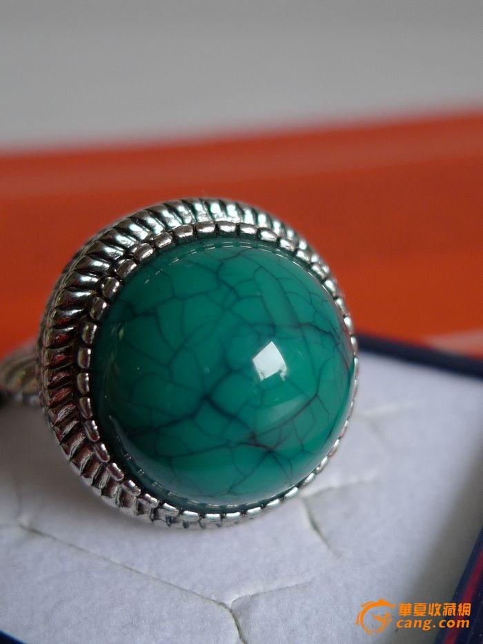 铁线松天然绿松石精品戒指图片
