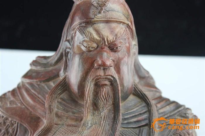 清末老寿山石雕大气威猛关公像