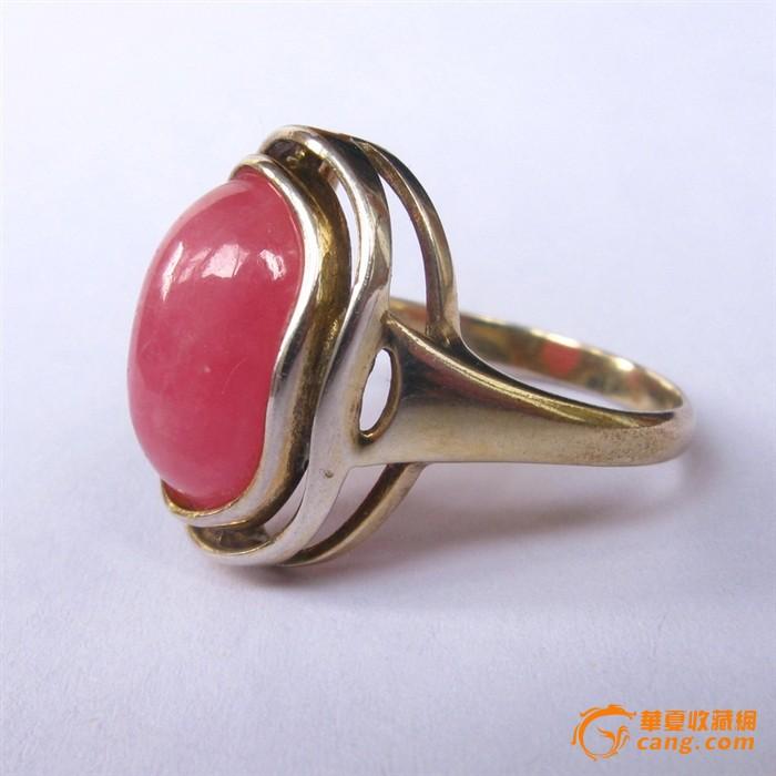 欧洲古董首饰 925银鎏金阿根廷天然红纹石戒指