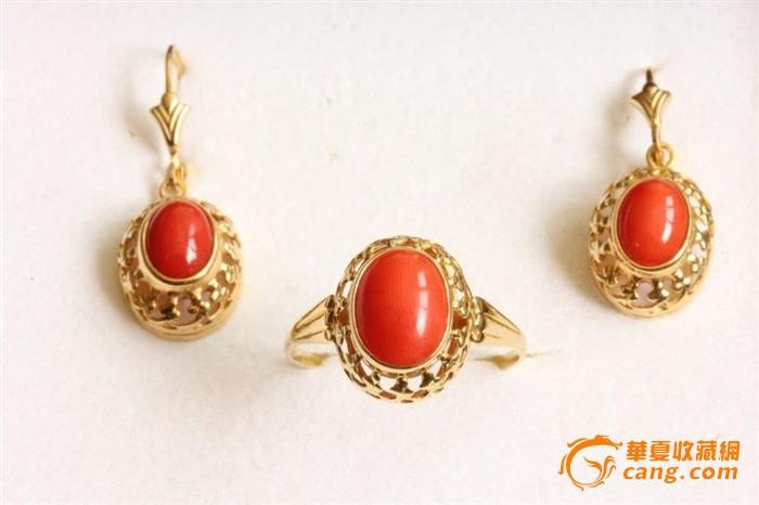 珍贵欧洲585k金红珊瑚套饰戒指 耳环6.1g