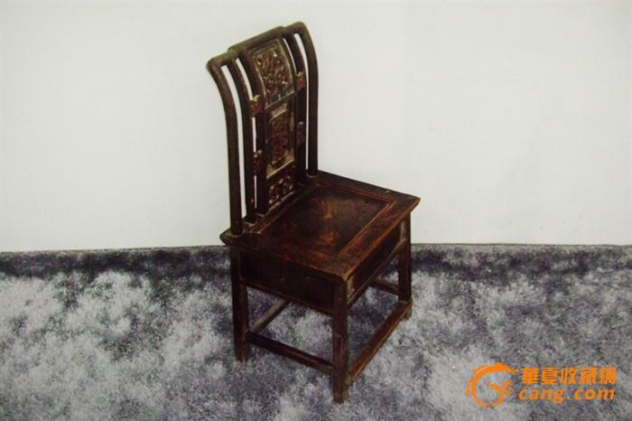 古董古玩木艺收藏 清代精美镂空雕花杂木椅子一只 qt64