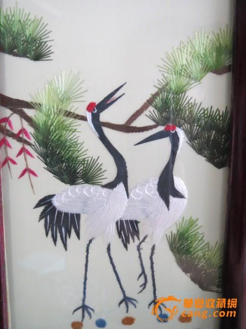 《六鹤》老红木 四折小屏风 双面纯手工刺绣