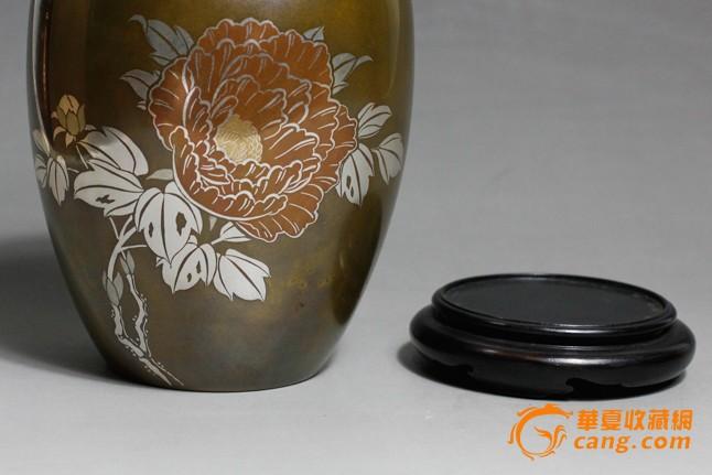 熙舍 明治期金银镶嵌牡丹花纹老花器花瓶 日式插花花艺茶道用具