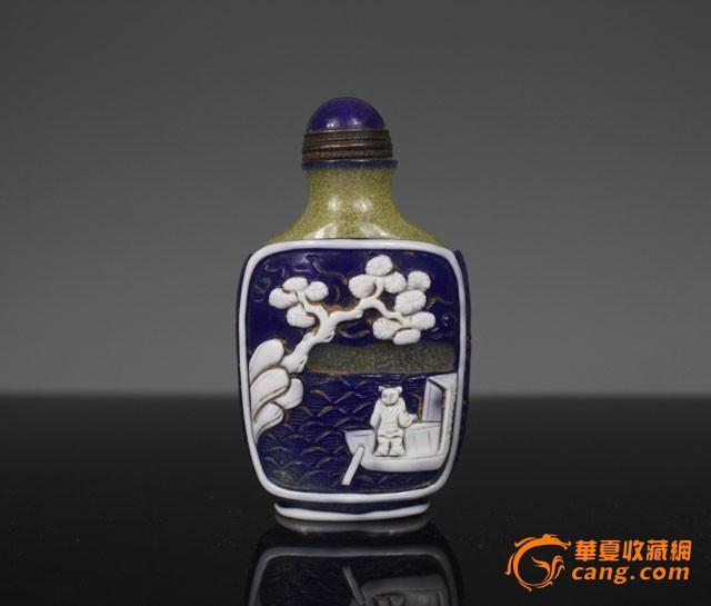 清代 蓝料人物鼻烟壶【友尚斋】-图1