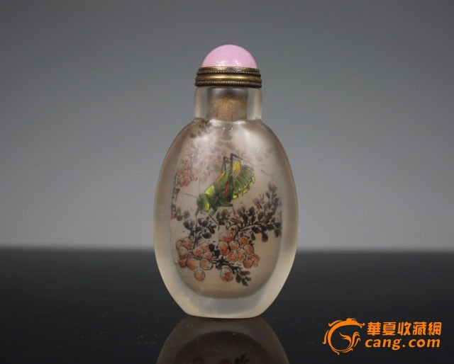 清代 水晶石内画花卉虫草鼻烟壶【友尚斋】-图1