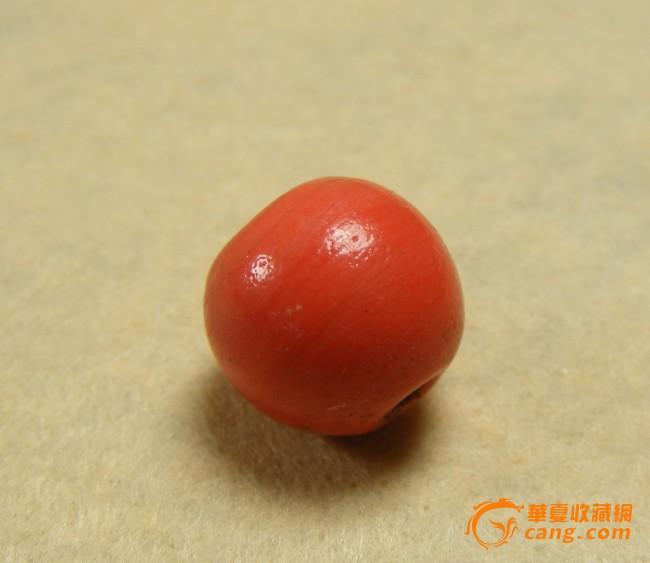 清代-老红色琉璃大圆珠