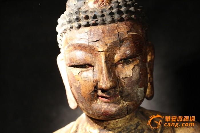 明代木雕漆金彩绘佛像