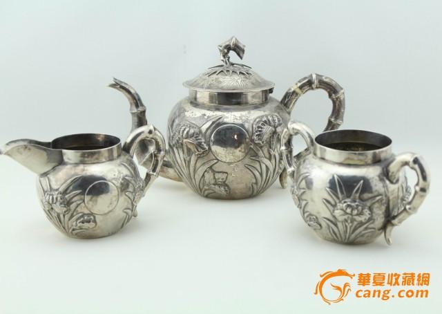 现货 海外回流 茶壶 三件套 竹子 兰花