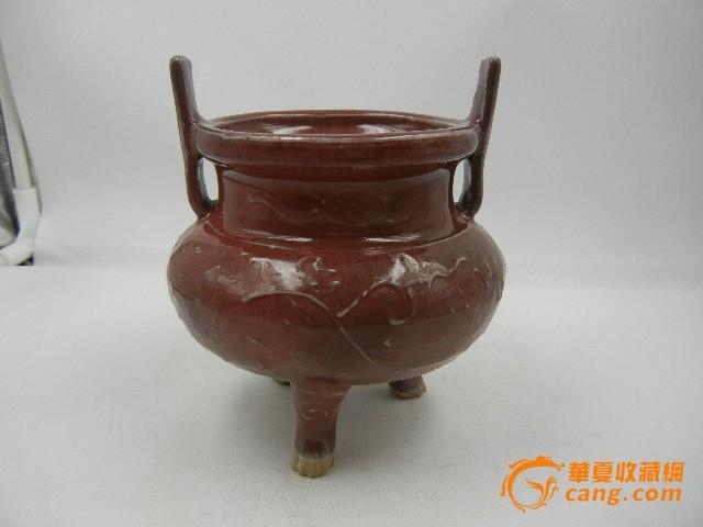 清晚期均红釉花卉纹香炉一个古玩古董老瓷器高12.8厘米