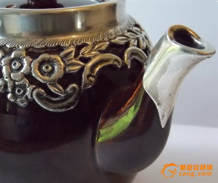欧洲古董镶银茶壶图5图片