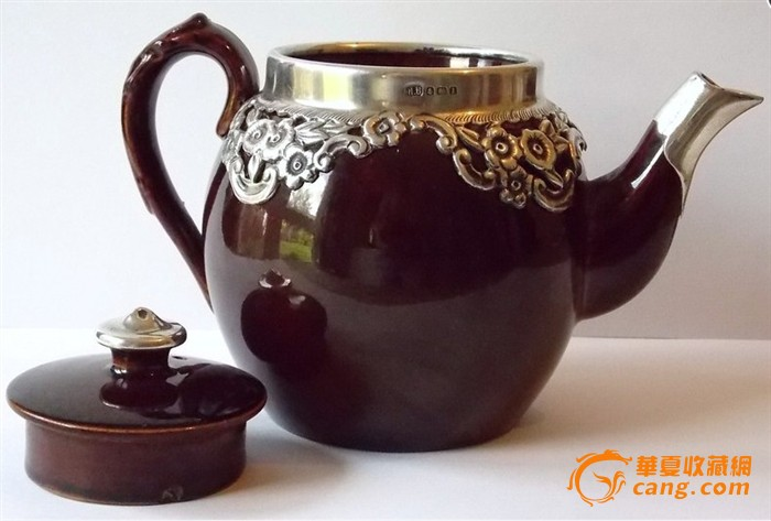 欧洲古董镶银茶壶图6图片