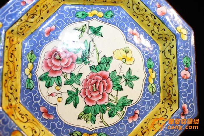 清代民国铜胎画珐琅盘子